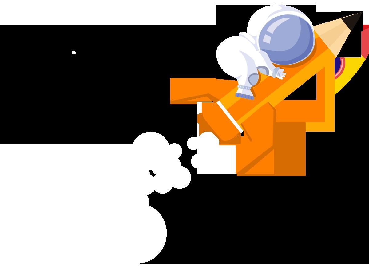 Astronaute sur un crayon - Conception logo Morbihan
